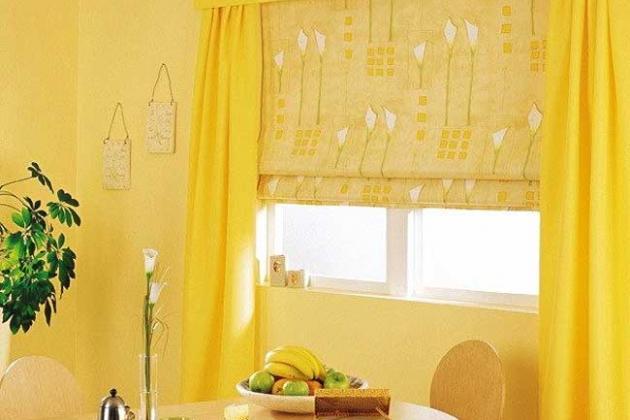 желтые римские шторы
