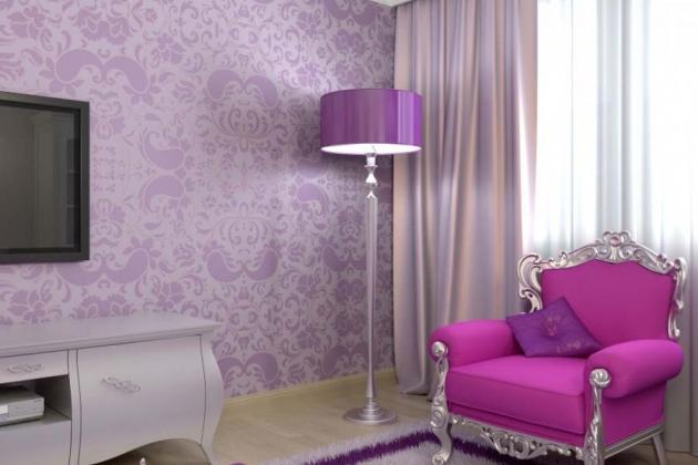 сиренево-фиолетовый интерьер