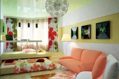 светлая яркая гостиная-спальня