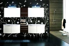 белая мебель в черной ванной