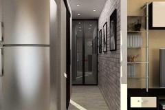 узкий коридор в серых тонах